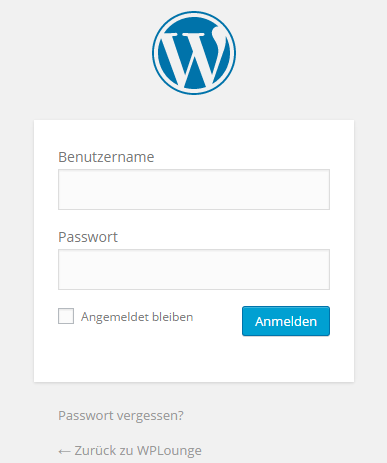Einloggen im WordPress Admin Panel